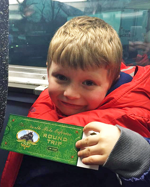 Hudson showing his Pierre Marquette ticket