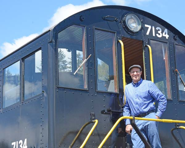 Larry on a former Army switch engine that operated at Joint Base Lewis McChord.